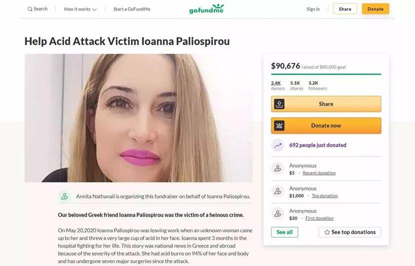Ιωάννα Παλιοσπύρου - επίθεση βιτριόλι
